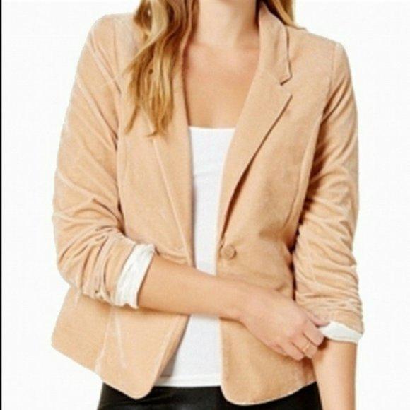 Kensie Velvet One Button Blazer Jacket Beige